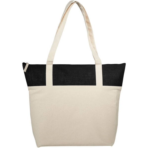 Jones 407 g/m² zippered cotton and jute tote bag (12018300)