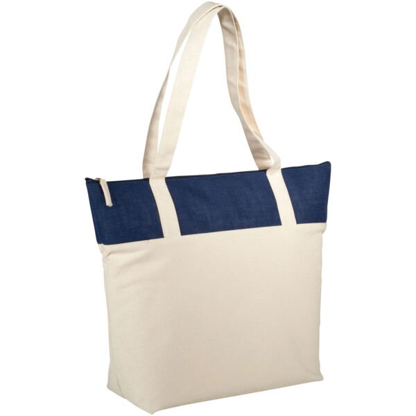 Jones 407 g/m² zippered cotton and jute tote bag (12018303)
