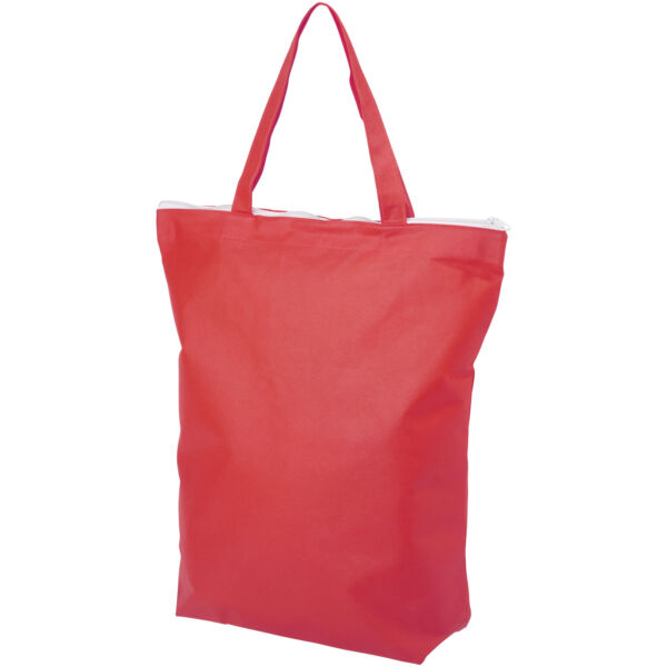 Privy zippered short handle non-woven tote bag (12040505)