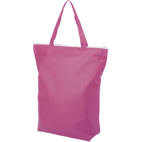 Privy zippered short handle non-woven tote bag (12040506)