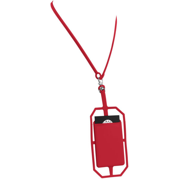Fort-rock silicone RFID card holder with lanyard (13425802)
