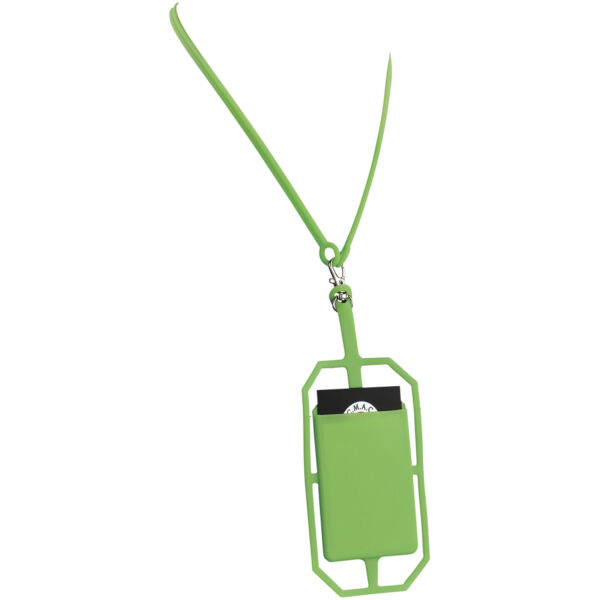 Fort-rock silicone RFID card holder with lanyard (13425803)