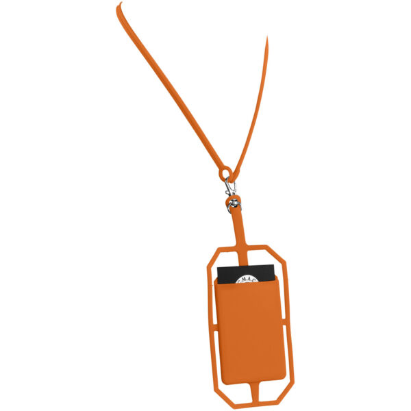 Fort-rock silicone RFID card holder with lanyard (13425804)